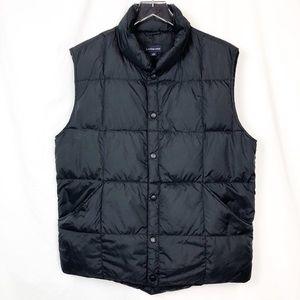 LANDS' END Goose Down quilted puffer vest Black